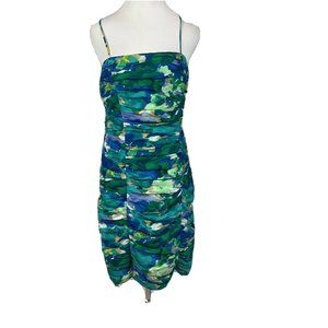 Calvin Klein watercolored ruched dress blue fitted